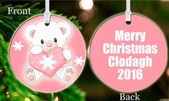 Personalized Christmas Ornament Pink Bear Cute Teddy Bear Girl Christmas Present ideal keepsake Gift