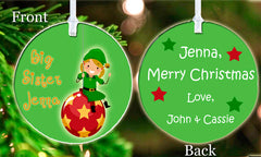 Personalized Christmas Ornament Big Sister Little Sister Family Elf  ideal keepsake Gift