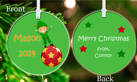 Personalized Christmas Ornament Big Brother Elf Little Brother Any Text Custom ideal keepsake Gift