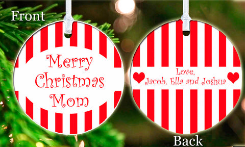 Personalized Christmas Ornament Candy Canes stripes Best Mom Gift ideal keepsake Gift