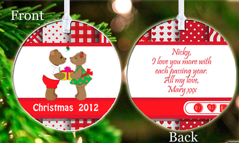 Personalized Christmas Ornament Cute Bears Engagement Couple Wedding Gift Idea Present Boy Girl Friend Keepsake