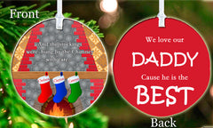 Personalized Christmas Ornament Kid's Any Names Stocking Best Daddy Dad Love Gift Idea