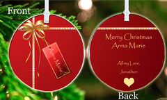 Personalized Christmas Ornament Elegant Gift Idea Present Gift tag Present Keepsake