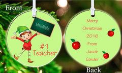 Personalized Christmas Ornament Elf Teacher #1 Gift Idea Present Student Gift School Keepsake