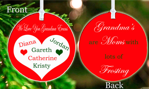 Personalized Christmas Ornament Grandma's Are Mom's with lots of Frosting Grandkids Gift Idea Present Love Heart Keepsake
