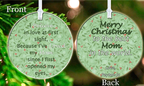 Personalized Christmas Ornament Holly Ivy I love My Mom Mother Nana Grandma Children Kids Beautiful keepsake Gift Idea