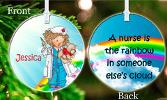Personalized Christmas Ornament Gift Little Girl Nurse Rainbow in Someone Else's Cloud Appreciation Keepsake