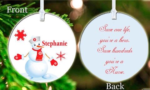 Personalized Christmas Ornament Snowman Nurse Winter Girl New RN Snow ideal Graduation Gift