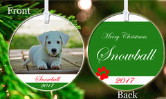 Personalized Christmas Tree Ornament Pet Paw Dog Puppy Cat Animal Photo Picture Love Gift Idea
