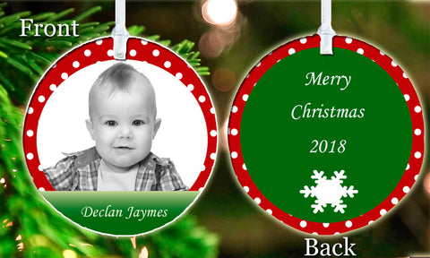 Personalized Christmas Tree Ornament Any Picture Photo Child Polka Dot Love Gift Idea