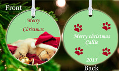 Personalized Christmas Ornament Cute Puppy Dog Lover Santa Hat Paw Prints Friend girl Keepsake