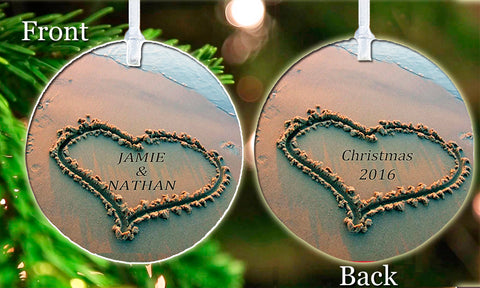 Personalized Christmas Ornament Any Names Written in the Sand Beautiful Couple Love Gift Idea