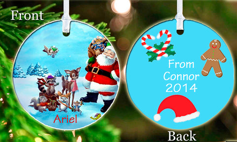 Personalized Christmas Ornament Cute Santa Claus Father Christmas Your child's Name Friend girl Keepsake