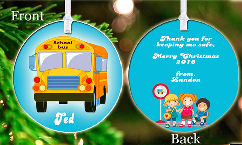 Personalized Christmas Ornament School Bus Driver Your child's Name Class Friend Kids Keepsake