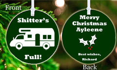 Personalized Christmas Ornament Shitter's Full Camping Christmas Vacation Good Funny Secret Santa Office Friend Gift Idea
