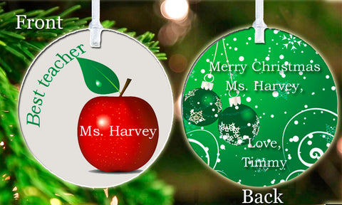 Personalized Christmas Ornament Best Teacher Apple Merry Christmas Child's Name Student Gift Idea