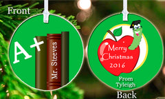 Personalized Christmas Ornament #1 Teacher Gift Book Worm Apple Merry Christmas Child's Name Student Gift Idea