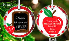 Personalized Christmas Ornament To Teach is 2 Touch Lives 4 ever Teacher Chalkboard Apple Merry Christmas Child's Name Student Gift Idea