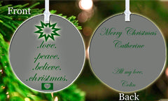 Personalized Christmas Ornament Beautiful Christmas Tree Peace Believe Any Names Love Gift Idea