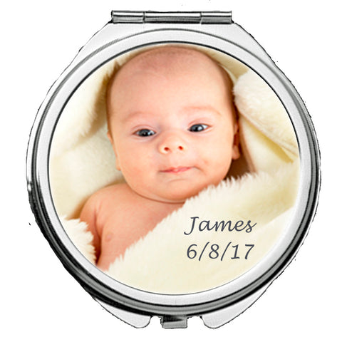 Personalized Round Mirror Compact With New Baby Photo Gift