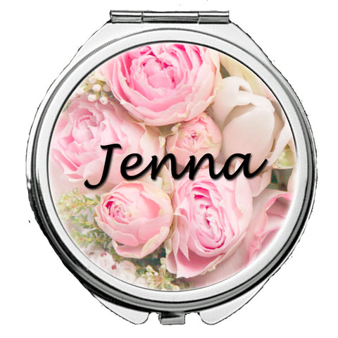 Personalized Round Mirror Compact With Flowers Bridesmaids Wedding Party Bride Any Name