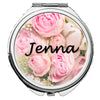 Image of Personalized Round Mirror Compact With Flowers Bridesmaids Wedding Party Bride Any Name