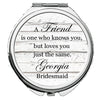 Image of Personalized Round Mirror Compact for Bridesmaids Wedding Best Friend Knows You But Loves You Just The Same