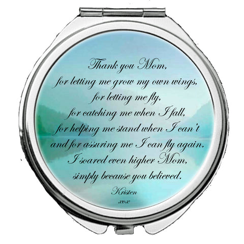 Personalized Round Mirror Compact Thank you I Love You Mom Beautiful Gift