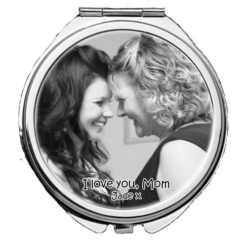 Personalized Round Mirror Compact  I Love You Mom Photo Picture Gift Mother of the Bride Mother in Law - beautiful Gift