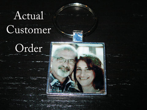 Personalized Silver Plated Key Chain Picture Family Children B&W