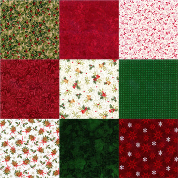 Seasons Greetings PreCut 9 Piece Fat Quarters
