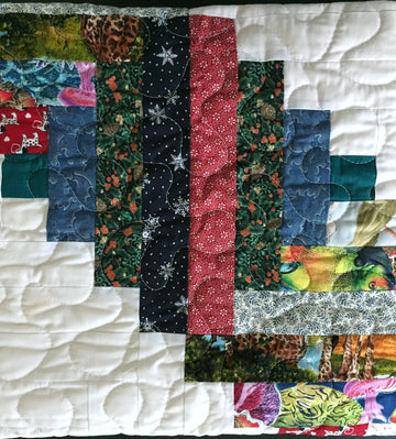 Scrappy Log Cabin Patchwork Quilt