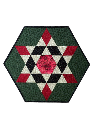 Quilted Table Topper Hexagon Star