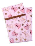 Handmade Pillowcase Dogs Pink Brown