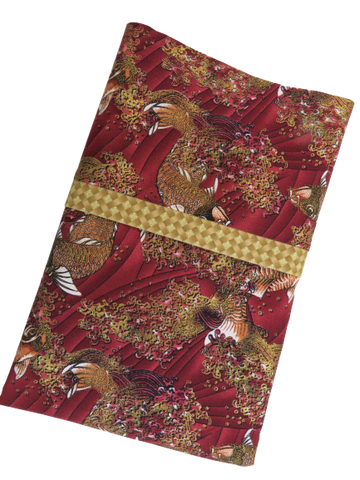 Handmade Travel Pillowcase  Koi Fish Maroon Gold