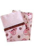 Handmade Travel Pillowcase Dogs Pink Brown