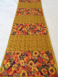 Handmade Quilted Table Runner Fall Flowers