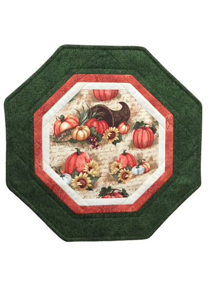 Pumpkins Sunflowers Quilted Table Topper Octagon