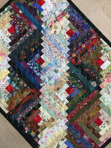 Quilted Table Topper Log Cabin Scrappy