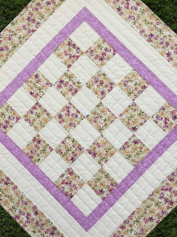 Lilac Sage Handmade Baby Quilt