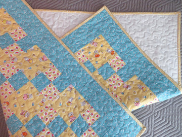 Blue Yellow Patchwork Baby Quilt Handmade