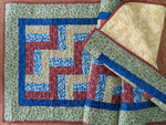 Quilted Table Runner Folk Art Large