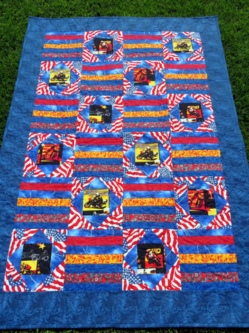 Motorcycle Street Bike Patchwork Quilt