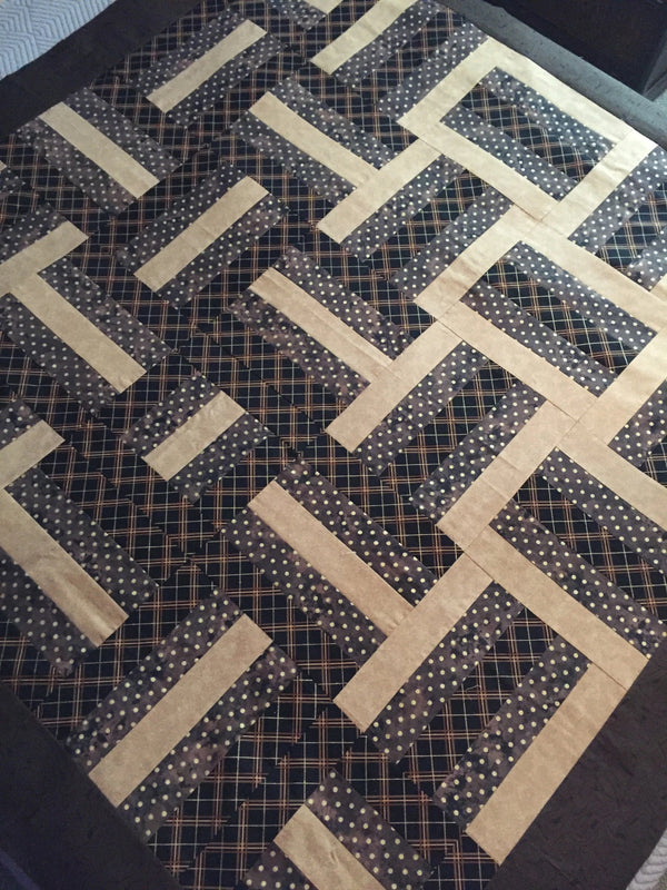 Geo Rails Handmade Unfinished Quilt Top