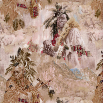 American Indian Portraits Taupe David Textiles