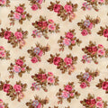 Anibella's Floral Rose Beige Red Rooster Fabric