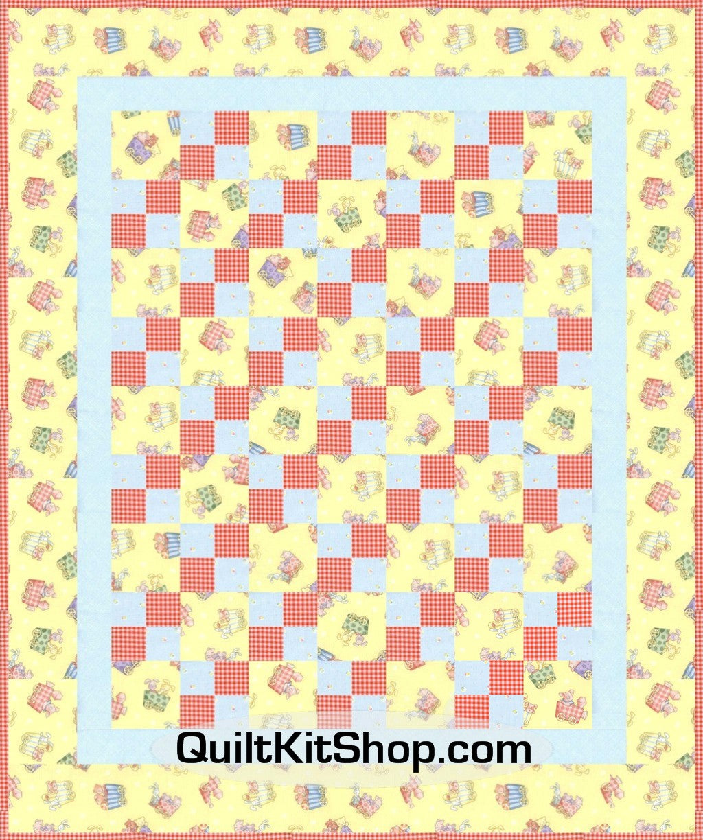 Animal Train Yellow Four Patch PreCut FAST PACK Baby Quilt Kit