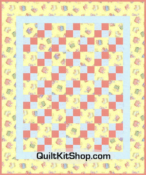 Animal Train Yellow Pre Cut Quilt Top Kit