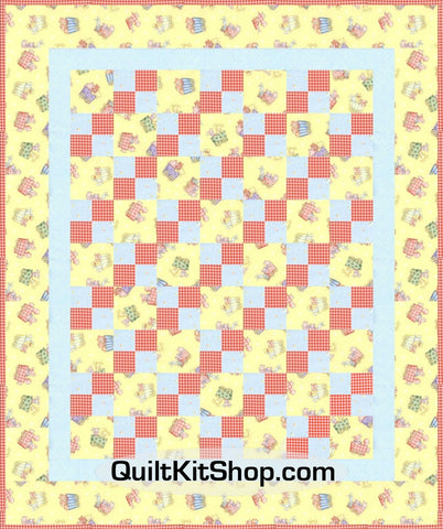 Animal Train Yellow Four Patch PreCut Quilt Kit