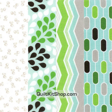 Aqua Blue Green Pre-Cut 12 Block Quilt Kit